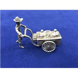 Dutch Sterling Silver Miniature Street Merchant with Food Cart  (wheels turn) _ Length 40mm weight 1