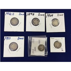 Group of Barber US Silver Dimes