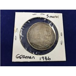 1936 Silver German Five Reichsmark Coin