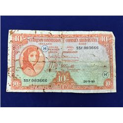 Rare Ireland Lady Lavery 10 Shillings Banknote 1940 With WAR Code (H)
