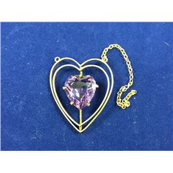 9ct Gold Heart Pendant  with Large Amethyst - Height 25mm