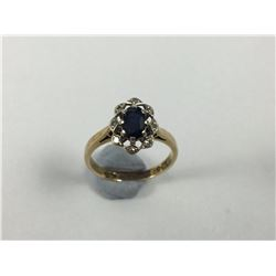 9ct Gold Ring with Centre Sapphire & Diamond Surround - Size 6 - 16 3/4mm ID