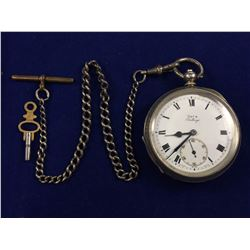 Antique Sterling Silver Key Wind Pocket Watch with Sterling Silver Gradauted Fob Chain & Key