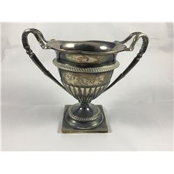 """1908 Sterling Silver """"Ranelagh Club 1930 Open Cup"""" Trophy with Double Rams horns Handle Supports"""