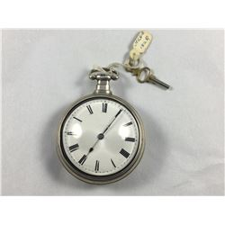 1825 Pair Cased Fusee Verge Pocket Watch In Sterling Silver - Halmarked London 1824 - Makers Mark T.