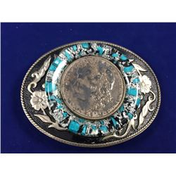 Belt Buckle with a 1879 USA Silver Morgan Dollar in Centre