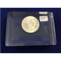1922 USA Silver Peace Dollar Captured in Plastic Block