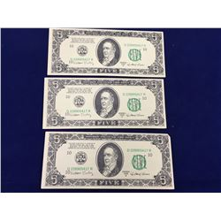 Vintage Series 1959 D Movie Prop Money $5 Dollar Bill Motion Picture William Bailey - Banknote's X 3