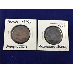 Two US Large Braided Hair 1 Cent Coins 1846 & 1852