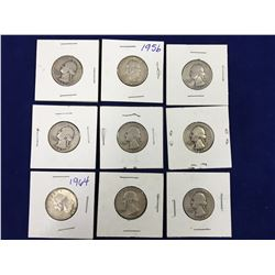 Group of Nine Carded US Silver Quarter Dollar Coins