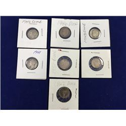 Group of Seven US Silver Dimes Including Mercury