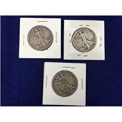 Three US Silver Walking Liberty Half Dollar Coins 1942, 43, 45