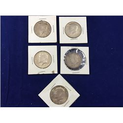 Group of Five 1964 US Silver Kennedy Half Dollars