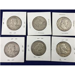 Six US Franklin Silver Half Dollar Coins - 1951, 52, 53, 54, 57, 63