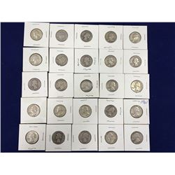 Group of 25 Carded US Silver Quarter Dollar Coins