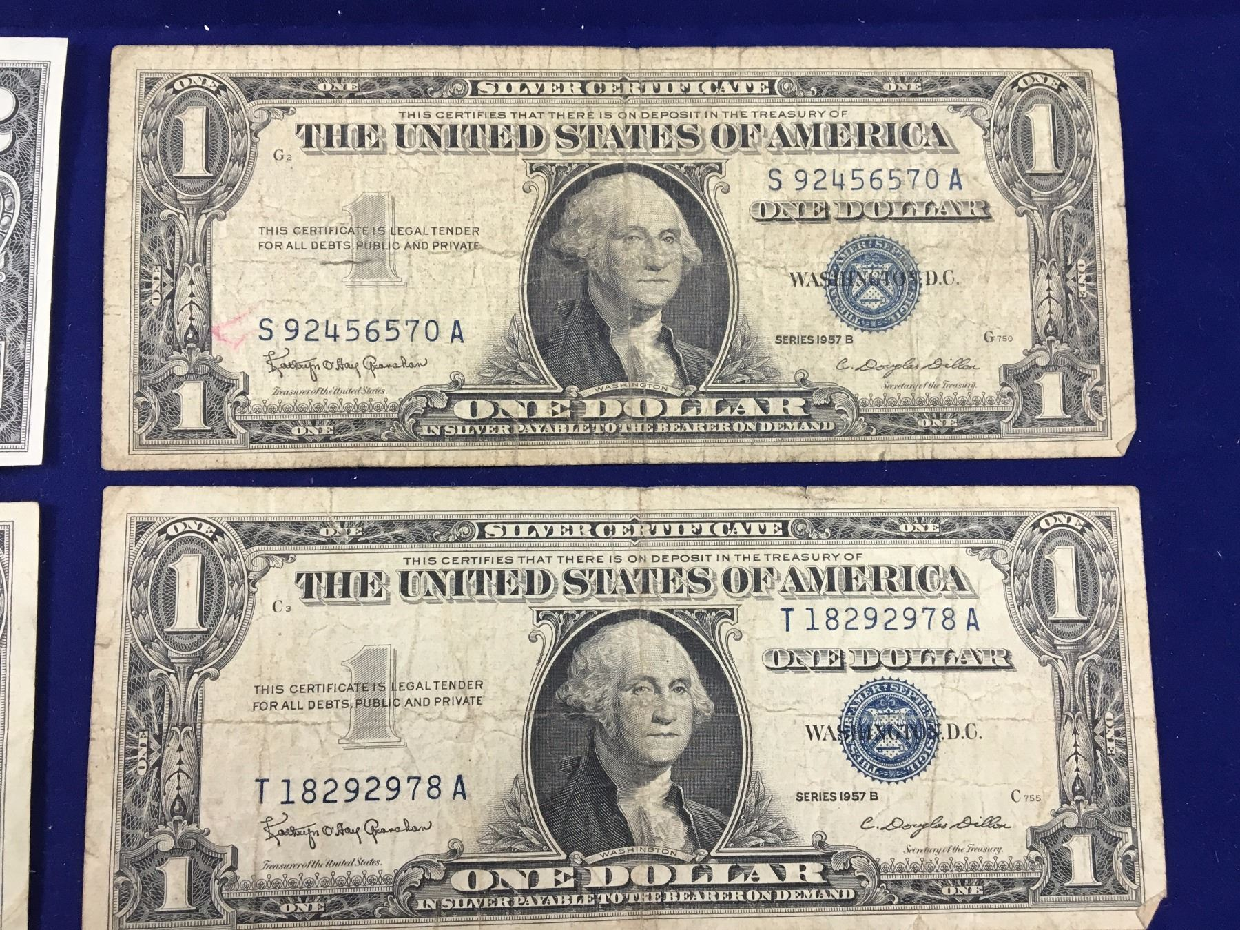 Four Old Us Banknotes Including 1957a B B One Dollar Silver