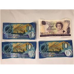 Group of New Zealand Banknotes Including Hardie $2 Dollar Banknote