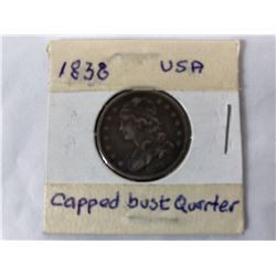 1838 US Capped Bust Quarter Coin (Very Fine)