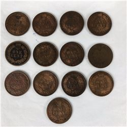 Group of US Indian Head Pennies 1889-1907