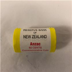 Roll of New Zealand ANZAC Fifty Cent Coins (20 Pieces)