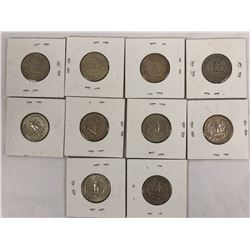 Group of Ten US Silver Quarter Dollar Coins 1941-1964