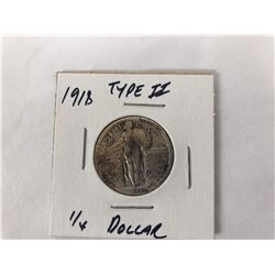 1918 US Standing Liberty Quarter Coin Type II (Fine)