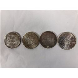 Group of Four 1977, 1976  Austrian 100 Schilling Silver Coins - Each are: 36mm Diameter -24 grams .6