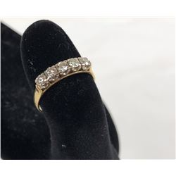 18ct Gold Ring with Five Round Brilliant Cut Diamonds Each .12ct and a exact total weight of .60ct -