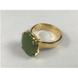 Vintage 14ct Gold Ring with New Zealand Greenstone / Pounamu Stone - ID 20.50mm Total Weight 8.50 gr