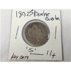 1892S USA Silver Barber Quarter Dollar Coin -San Fransico Mint -  Key Date