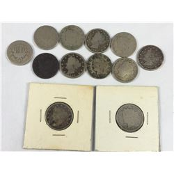 Group of US Nickel Coins - 1882, 1883, 1889, 1895, 1900, 1902, 1911, 1911, 1912