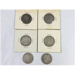 Group of US Barber Silver Quarter Dollars 1894, 1899, 1899, 1906, 1909, 1916