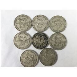 Nine x 1944 New Zealand Silver Shilling Coins - (Low Mintage)