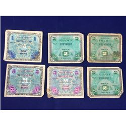 Group of World War II Allied Occupation Banknotes