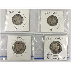 Four US Silver Barber Quarter Dollar Coins - 1909, 1912, 1913D, 1915D