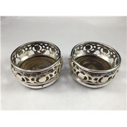 Pair of Antique Silverware over Copper Wine Coasters