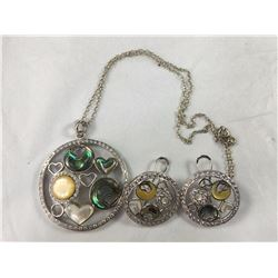 Vintage Three Piece Sterling Silver Necklace & Earring Set
