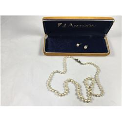 Vintage Artron Graduated Pearl Necklace with Earrings (With Sterling Silver Clasp)