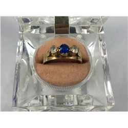 Stunning Vintage 9ct Gold Double Diamond & Single Sapphire Ring - 18mm ID - Weight 3.16 Grams