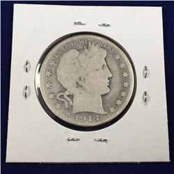 1914 S US Barber Silver Half Dollar