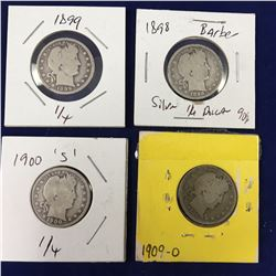 Group of US Barber Silver Quarter Dollar Coins - 1898, 1899, 1900s, 1909o