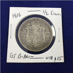 1916 Great Britain Half Crown Silver Coin