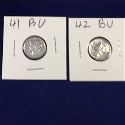 Two US Mercury Silver Dimes 1941, 1942 Gem BU