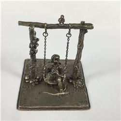 Dutch Sterling Silver Miniature Girl on Swing Ornament