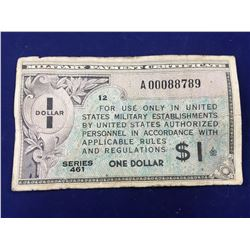 US Military Payment Certificate  $1 Replacement banknote Series 461 -  Very scarce, only approx. 21