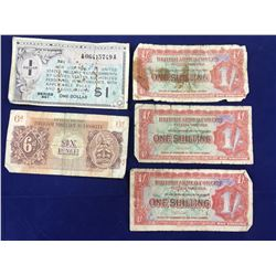Group of World War II Military / Armed Forces Banknotes