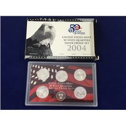2004 US Mint 50 State Quarters SILVER Proof Set In Case with Box