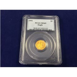 1991 US Five Dollar Gold Eagle Coin MS69 PCGS Graded & Slabbed