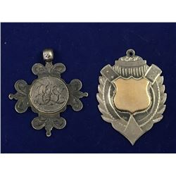 Two Antique Sterling Silver Badges - One with 9ct Gold Crest