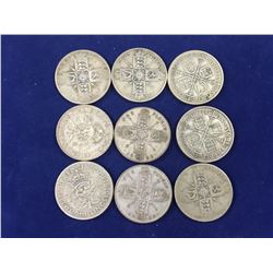 Group of English Silver Florin Coins (9)
